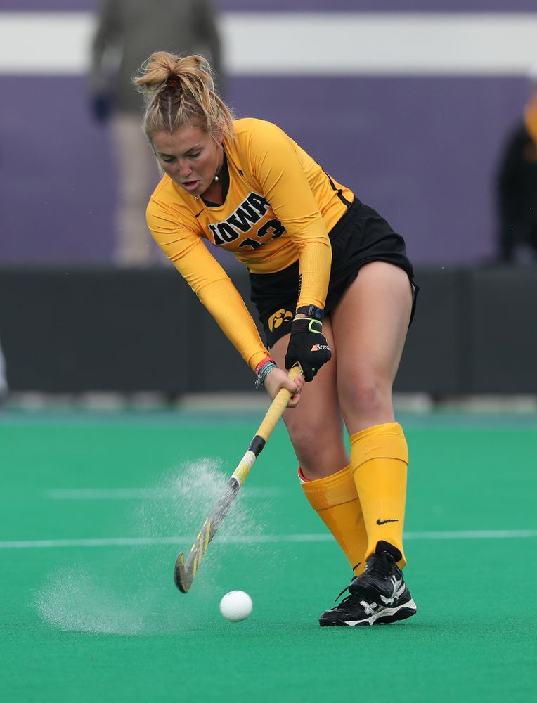 Iowa Hawkeyes Leah Zellner (13) against the Michigan Wolverines in the semi-finals of the Big Ten Tournament Friday, November 2, 2018 at Lakeside Field on the campus of Northwestern University in Evanston, Ill. (Brian Ray/hawkeyesports.com)