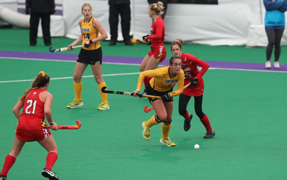 Iowa Hawkeyes Anthe Nijziel (6) against Maryland during the championship game of the Big Ten Tournament Sunday, November 4, 2018 at Lakeside Field in Evanston, Ill. (Brian Ray/hawkeyesports.com)