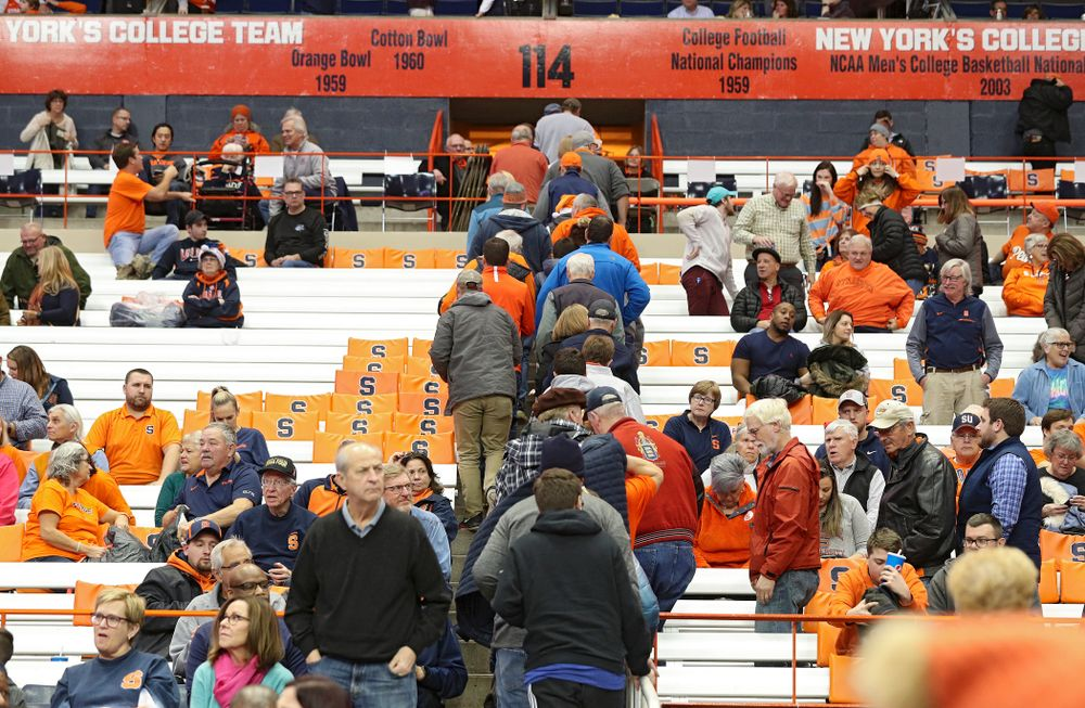 Syracuse Orange fans stream to the exits during the second half of their ACC/Big Ten Challenge game at the Carrier Dome in Syracuse, N.Y. on Tuesday, Dec 3, 2019. (Stephen Mally/hawkeyesports.com)