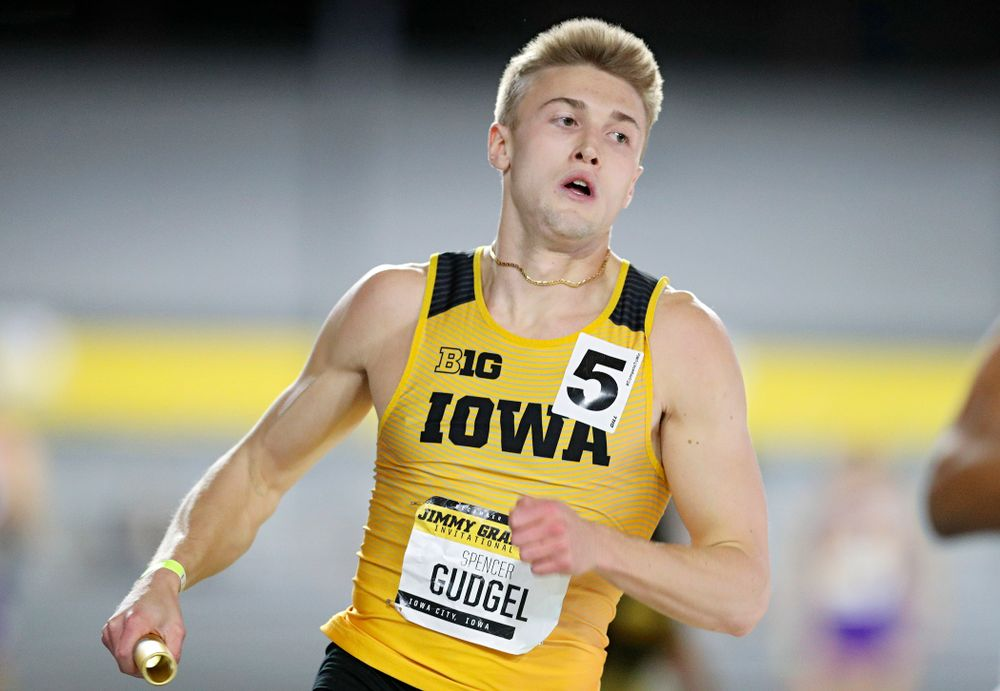 Iowa's Spencer Gudgel runs the men's 1600 meter relay event during the Jimmy Grant Invitational at the Recreation Building in Iowa City on Saturday, December 14, 2019. (Stephen Mally/hawkeyesports.com)