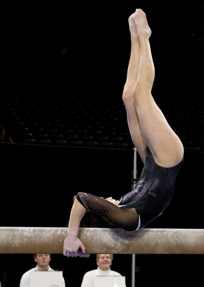 Iowa's Mackenzie Vance competes on the beam against Michigan State Saturday, February 1, 2020 at Carver-Hawkeye Arena. (Brian Ray/hawkeyesports.com)