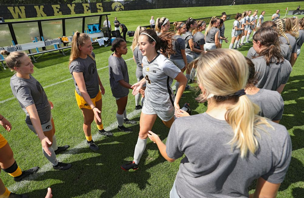 Iowa forward Kaleigh Haus (4) takes the field for their match at the Iowa Soccer Complex in Iowa City on Sunday, Sep 1, 2019. (Stephen Mally/hawkeyesports.com)