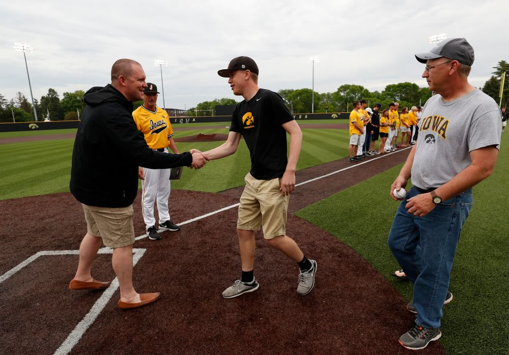 Manager Zach Parle during senior day activities before their game against the Penn State Nittany Lions Saturday, May 19, 2018 at Duane Banks Field. (Brian Ray/hawkeyesports.com)