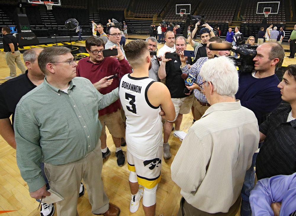 Iowa Hawkeyes guard Jordan Bohannon (3) answers questions during Iowa Men's Basketball Media Day at Carver-Hawkeye Arena in Iowa City on Wednesday, Oct 9, 2019. (Stephen Mally/hawkeyesports.com)