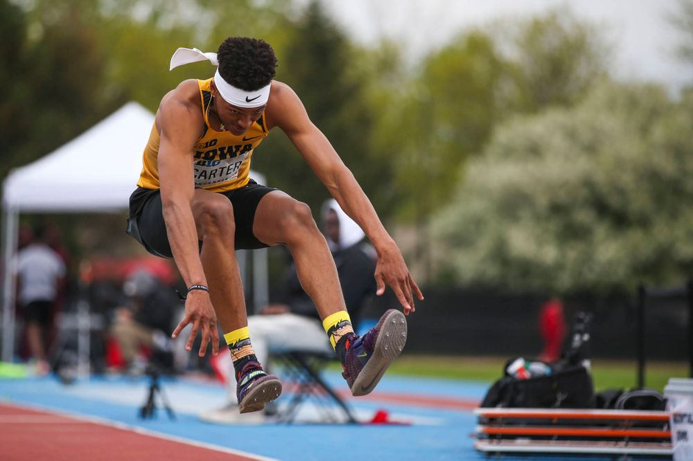 Iowa's James Carter during men's triple jump at Big Ten Outdoor Track and Field Championships at Francis X. Cretzmeyer Track on Sunday, May 12, 2019. (Lily Smith/hawkeyesports.com)
