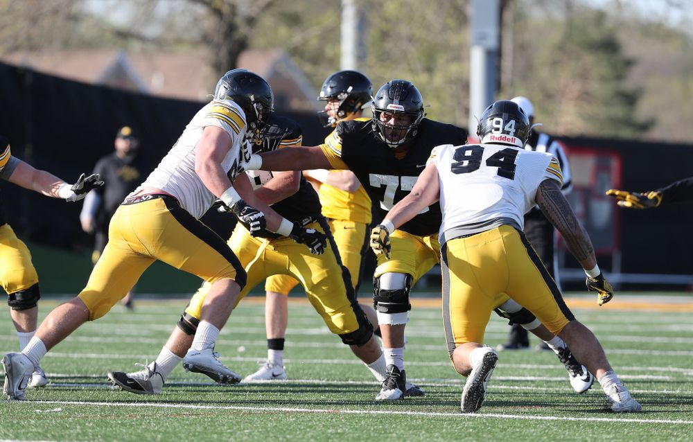 Iowa Hawkeyes offensive lineman Alaric Jackson (77) during the teamÕs final spring practice Friday, April 26, 2019 at the Kenyon Football Practice Facility. (Brian Ray/hawkeyesports.com)