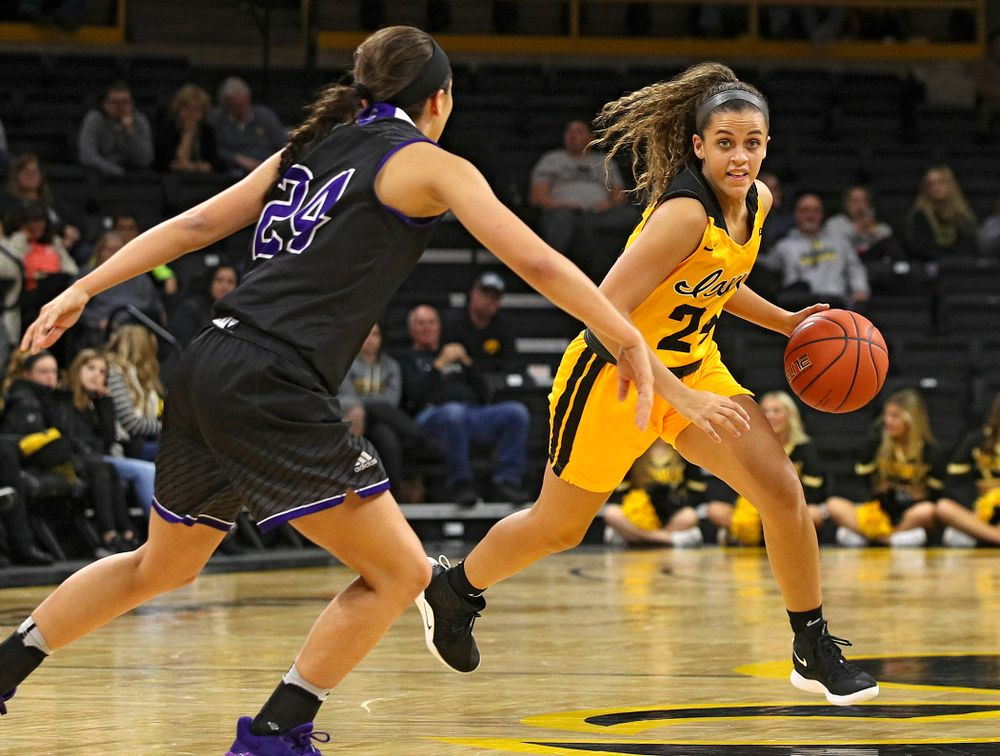 Iowa guard Gabbie Marshall (24) drives with the ball during the fourth quarter of their game against Winona State at Carver-Hawkeye Arena in Iowa City on Sunday, Nov 3, 2019. (Stephen Mally/hawkeyesports.com)
