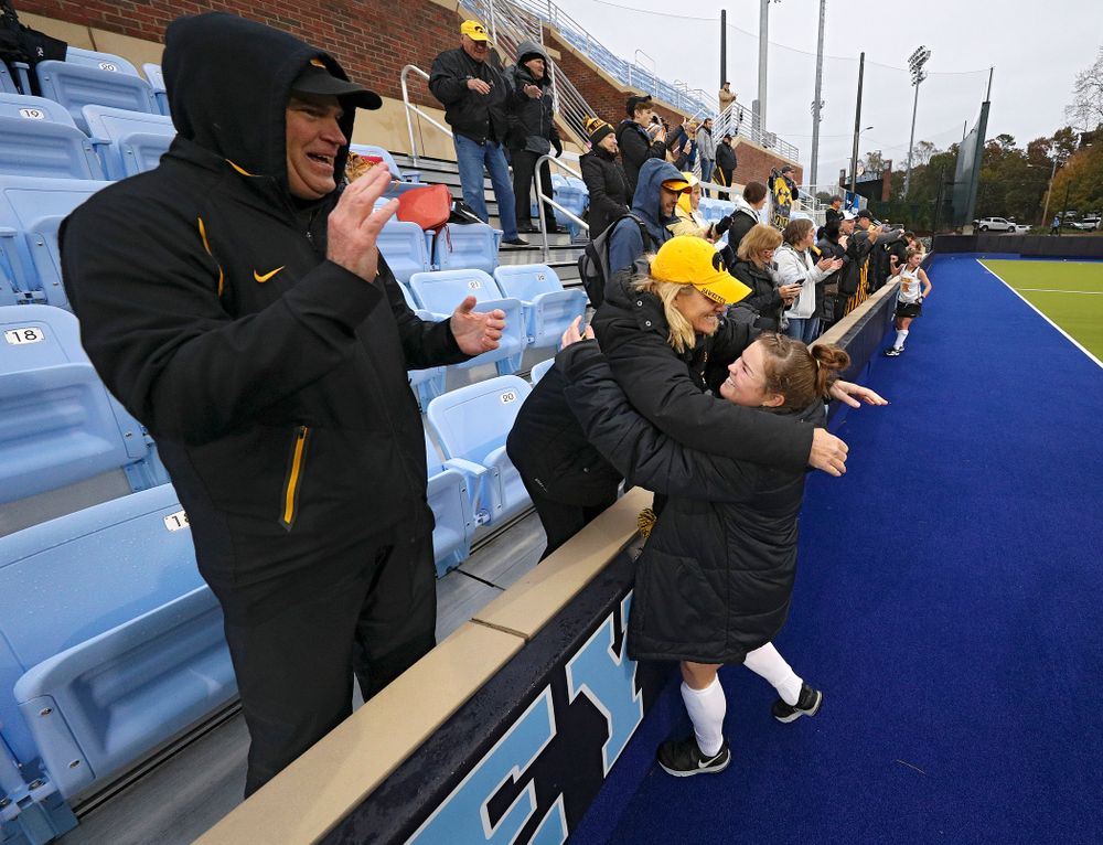 Iowa's Meghan Conroy (5) gets a hug after winning their NCAA Tournament First Round match against Duke at Karen Shelton Stadium in Chapel Hill, N.C. on Friday, Nov 15, 2019. (Stephen Mally/hawkeyesports.com)
