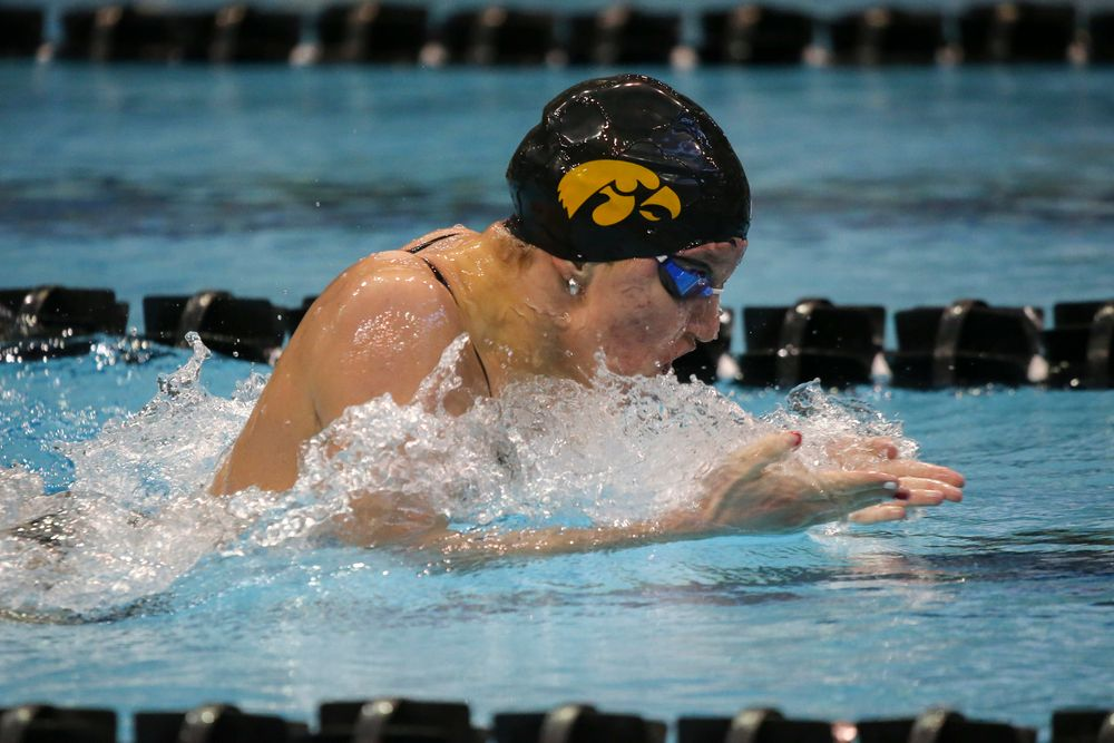 Emilia Sansome during Iowa women's swimming and diving vs Rutgers on Friday, November 8, 2019 at the Campus Wellness and Recreation Center. (Lily Smith/hawkeyesports.com)
