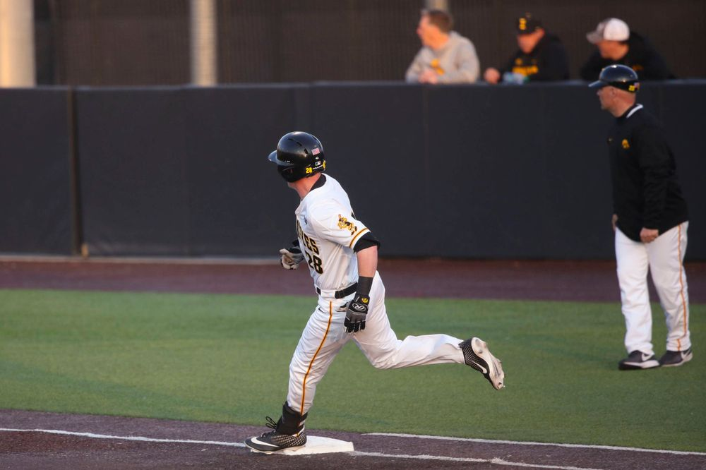 Iowa infielder Chris Whelan  at game 1 vs Rutgers on Friday, April 5, 2019 at Duane Banks Field. (Lily Smith/hawkeyesports.com)