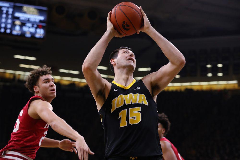 Iowa Hawkeyes forward Ryan Kriener (15) against the Indiana Hoosiers Friday, February 22, 2019 at Carver-Hawkeye Arena. (Brian Ray/hawkeyesports.com)