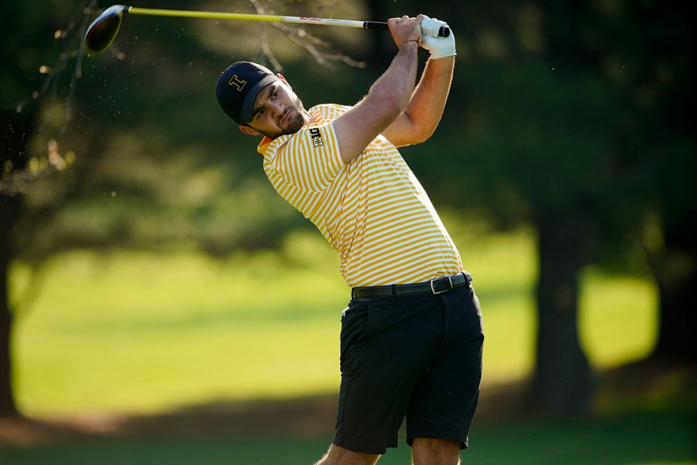Iowa's Gonzalo Leal tees off during the third round of the Hawkeye Invitational at Finkbine Golf Course in Iowa City on Sunday, Apr. 21, 2019. (Stephen Mally/hawkeyesports.com)