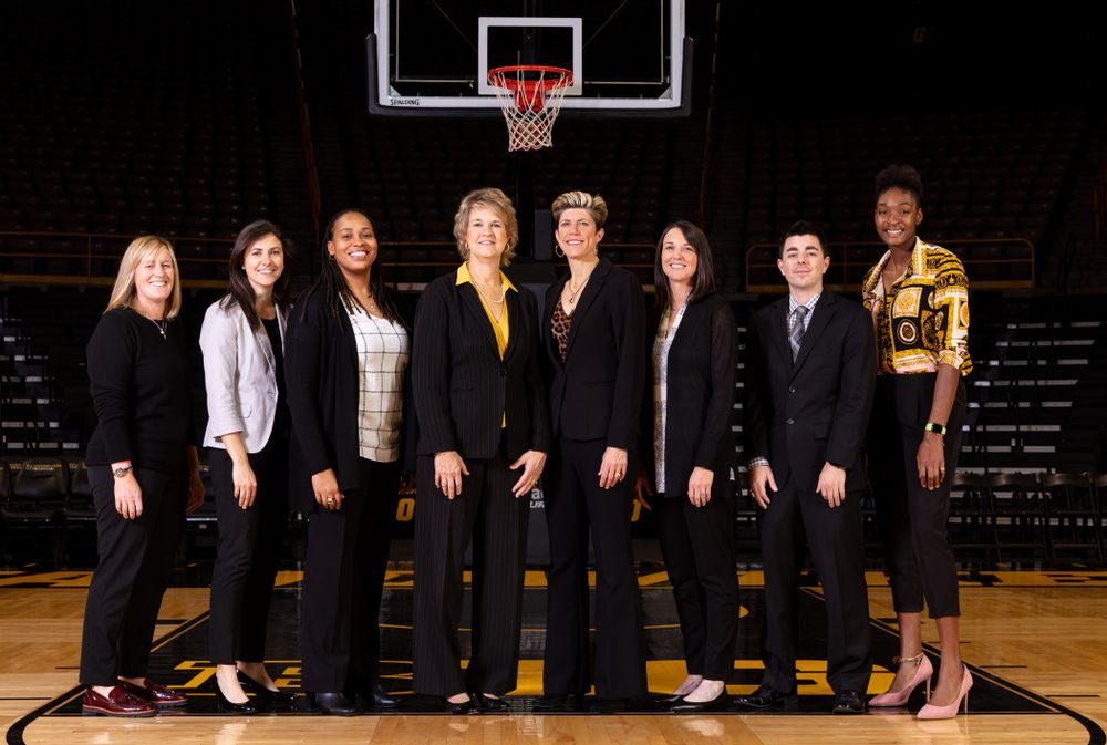 The 2019-2020 Iowa WomenÕs Basketball coaches and staff Thursday, October 24, 2019 at Carver-Hawkeye Arena. (Brian Ray/hawkeyesports.com)