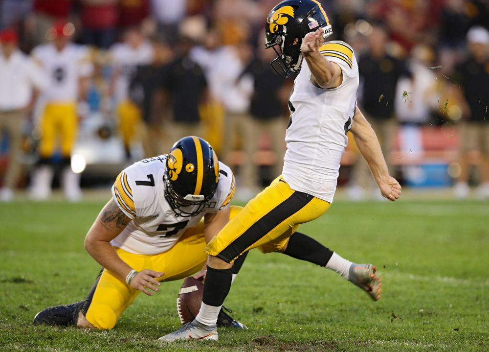 Iowa Hawkeyes place kicker Keith Duncan (3) makes a field goal from the hold of punter Colten Rastetter (7) during the second quarter of their Iowa Corn Cy-Hawk Series game at Jack Trice Stadium in Ames on Saturday, Sep 14, 2019. (Stephen Mally/hawkeyesports.com)
