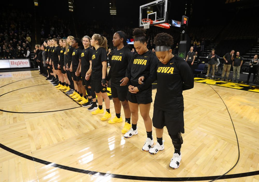 The Iowa Hawkeyes stand for the National Anthem before their game against the Iowa State Cyclones in the Iowa Corn Cy-Hawk Series Wednesday, December 5, 2018 at Carver-Hawkeye Arena. (Brian Ray/hawkeyesports.com)