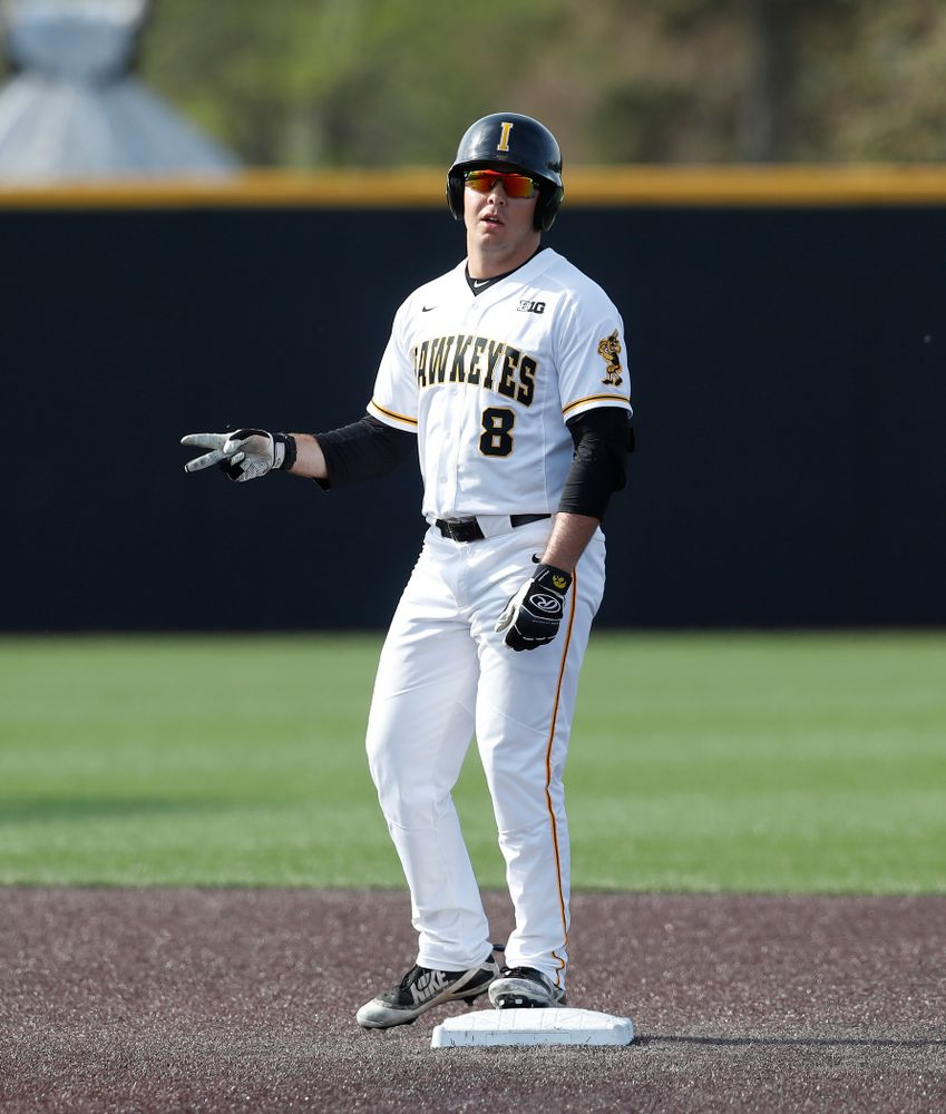 Iowa Hawkeyes outfielder Luke Farley (8) celebrates a double against the Oklahoma State Cowboys Saturday, May 5, 2018 at Duane Banks Field. (Brian Ray/hawkeyesports.com)