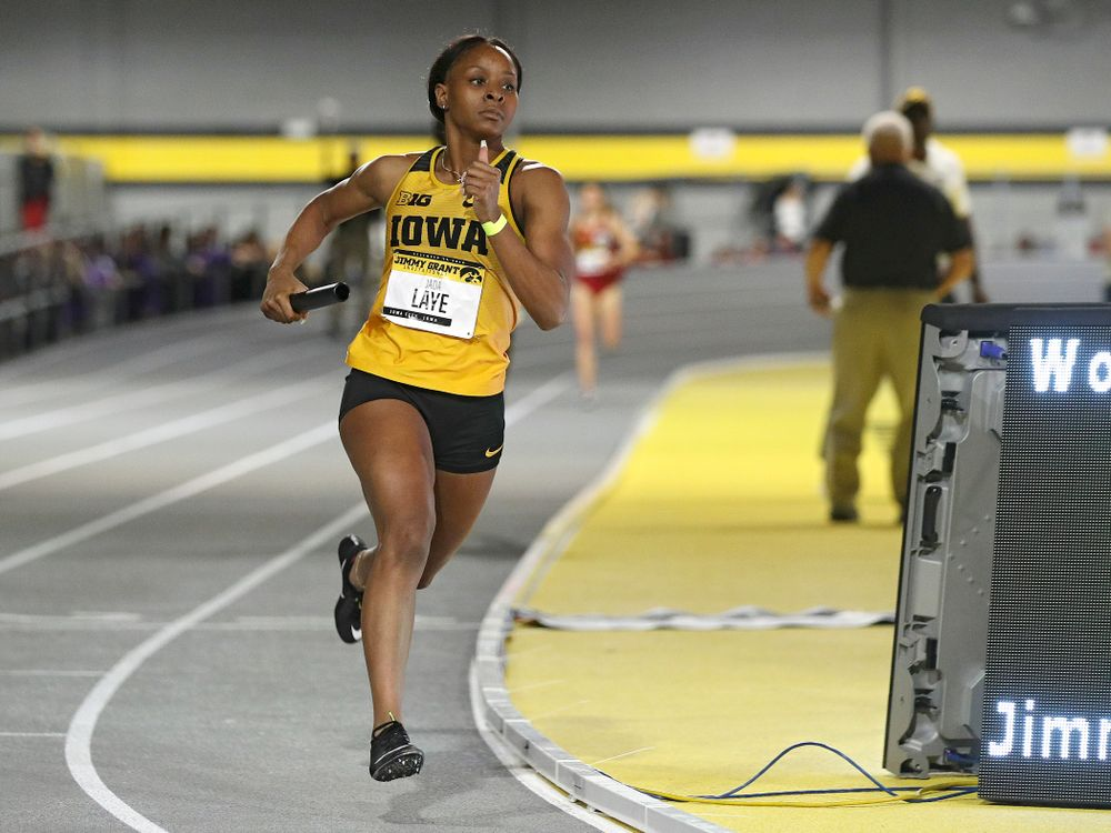 Iowa's Jada Laye runs the women's 1600 meter relay event during the Jimmy Grant Invitational at the Recreation Building in Iowa City on Saturday, December 14, 2019. (Stephen Mally/hawkeyesports.com)