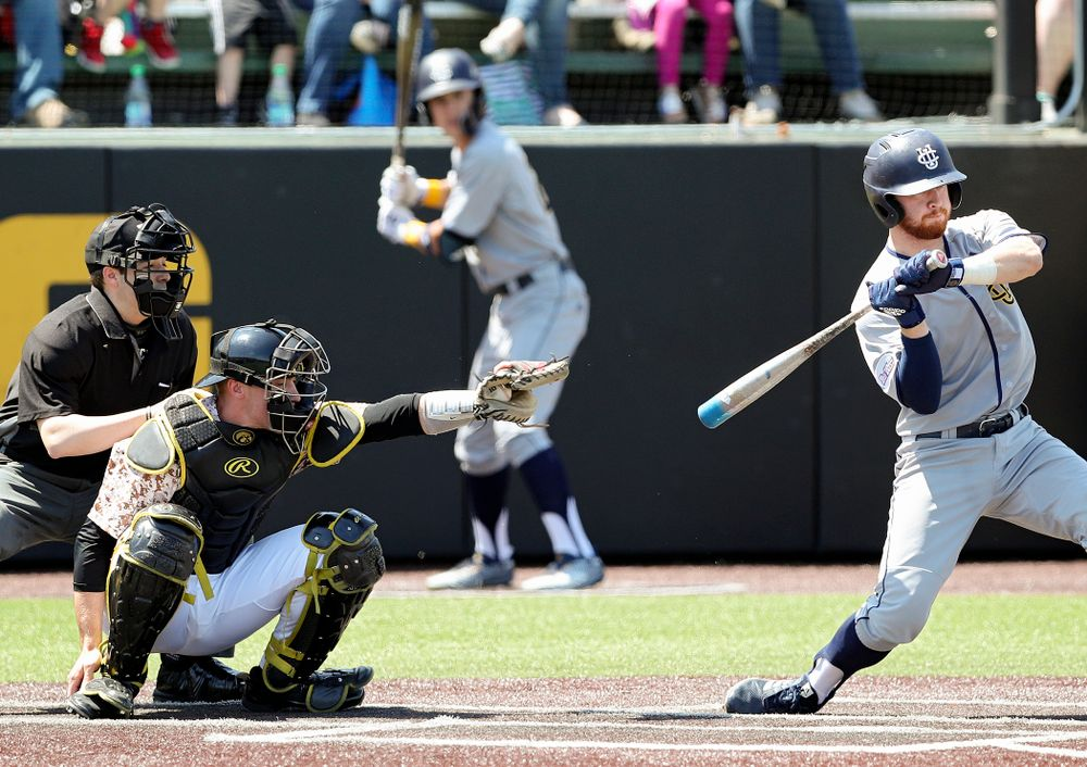 Iowa Hawkeyes catcher Austin Martin (34) frames a pitch during the second inning of their game against UC Irvine at Duane Banks Field in Iowa City on Sunday, May. 5, 2019. (Stephen Mally/hawkeyesports.com)