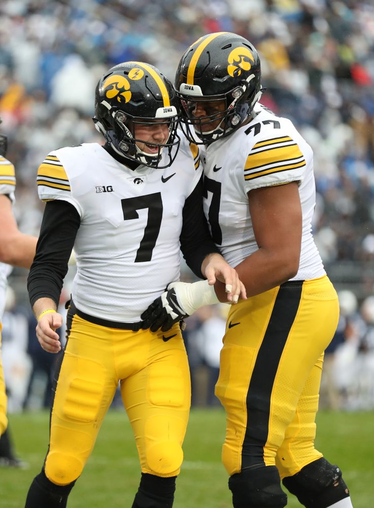 Iowa Hawkeyes punter Colten Rastetter (7) against the Penn State Nittany Lions Saturday, October 27, 2018 at Beaver Stadium in University Park, Pa. (Max Allen/hawkeyesports.com)