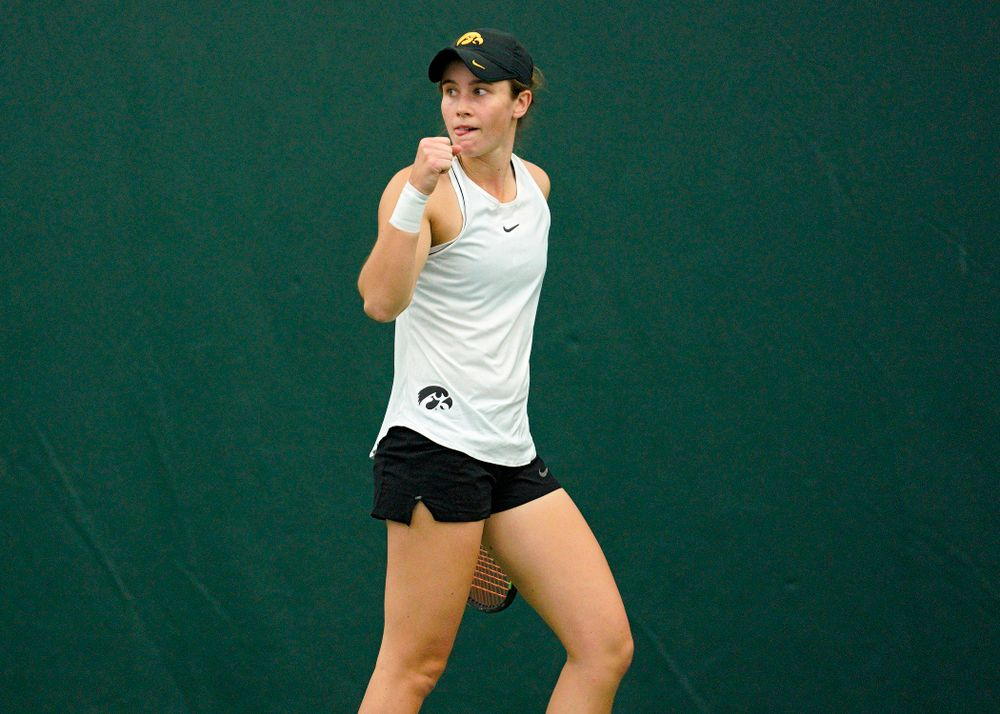Iowa's Elise Van Heuvelen celebrates a point during her singles match at the Hawkeye Tennis and Recreation Complex in Iowa City on Sunday, February 16, 2020. (Stephen Mally/hawkeyesports.com)