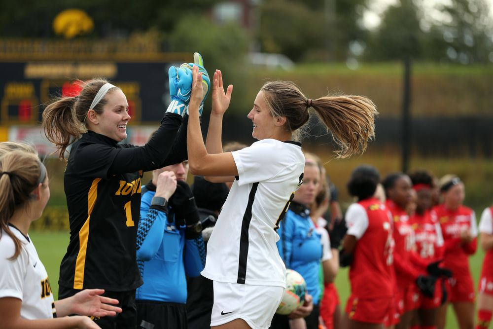 Iowa Hawkeyes goalkeeper Claire Graves (1) and midfielder Isabella Blackman (6) against the Maryland Terrapins Sunday, October 13, 2019 on senior day. (Brian Ray/hawkeyesports.com)