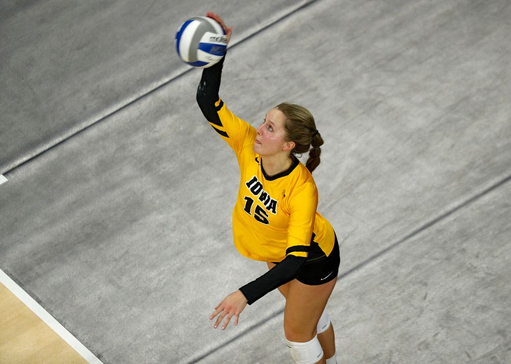 Iowa's Maddie Slagle (15) serves the ball during the fourth set of their match at Carver-Hawkeye Arena in Iowa City on Friday, Nov 29, 2019. (Stephen Mally/hawkeyesports.com)