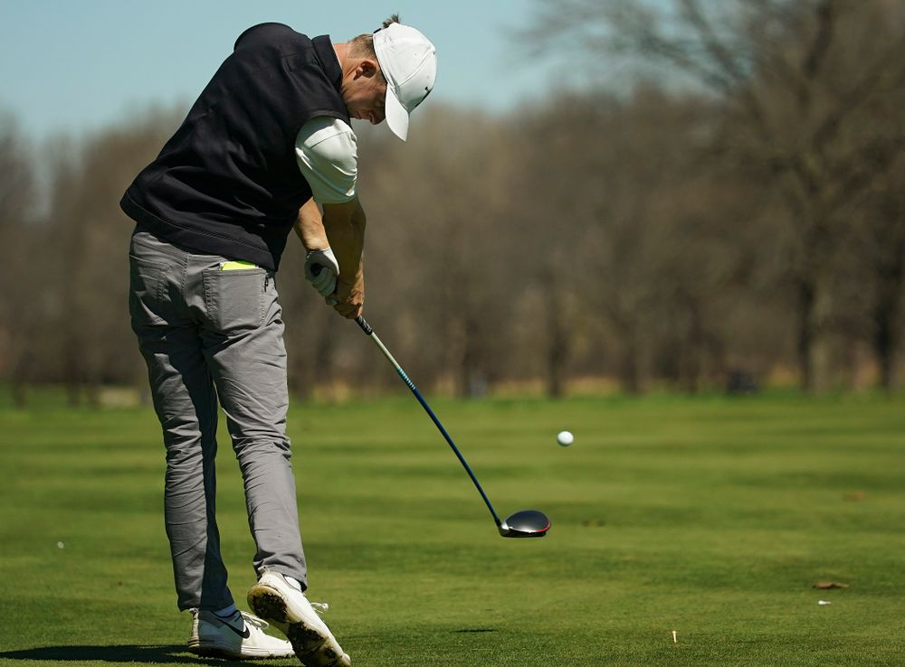 Iowa's Benton Weinberg tees off during the first round of the Hawkeye Invitational at Finkbine Golf Course in Iowa City on Saturday, Apr. 20, 2019. (Stephen Mally/hawkeyesports.com)