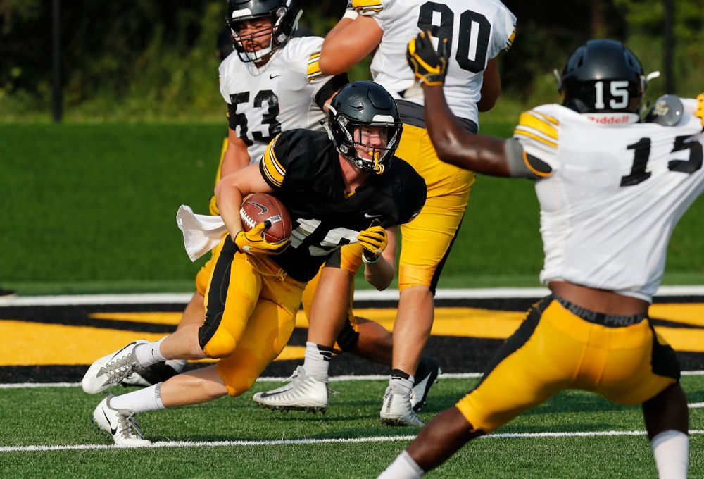Iowa Hawkeyes wide receiver Max Cooper (19) during camp practice No. 16 Tuesday, August 21, 2018 at the Hansen Football Performance Center. (Brian Ray/hawkeyesports.com)