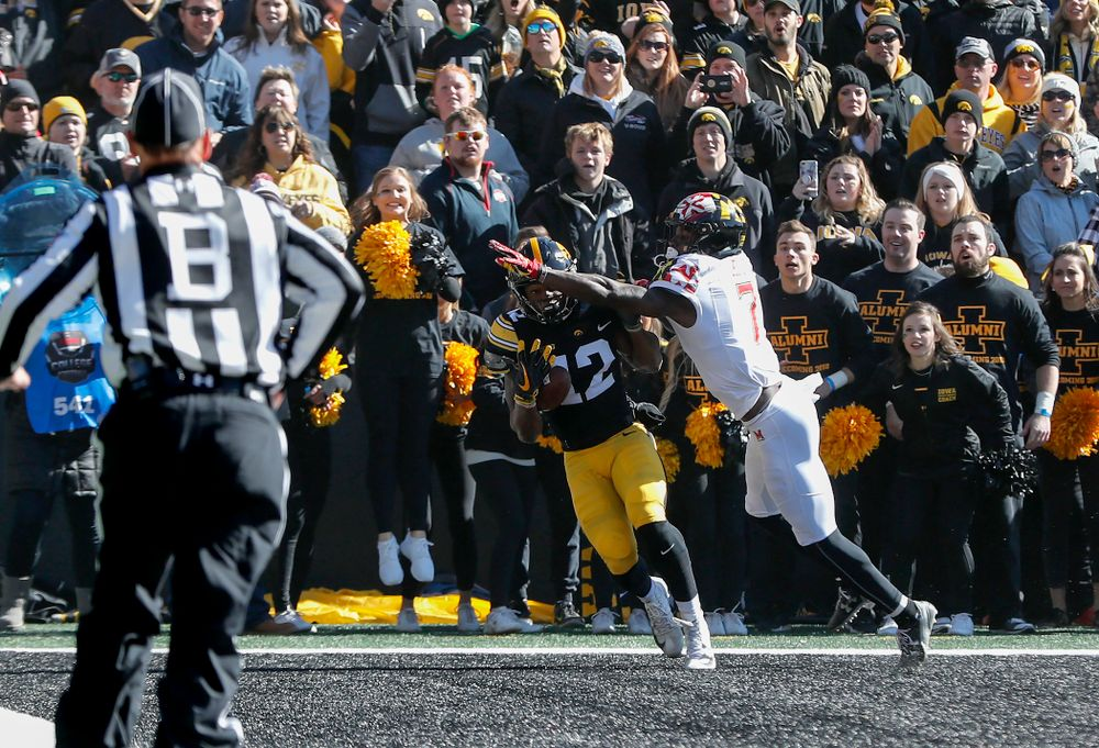 Iowa Hawkeyes wide receiver Brandon Smith (12) pulls down a one handed touchdown pass against the Maryland Terrapins Saturday, October 20, 2018 at Kinnick Stadium (Brian Ray/hawkeyesports.com)