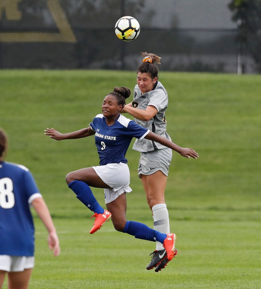 Iowa Hawkeyes Diane Senkowski (18) against Indiana State Sunday, August 26, 2018 at the Iowa Soccer Complex. (Brian Ray/hawkeyesports.com)