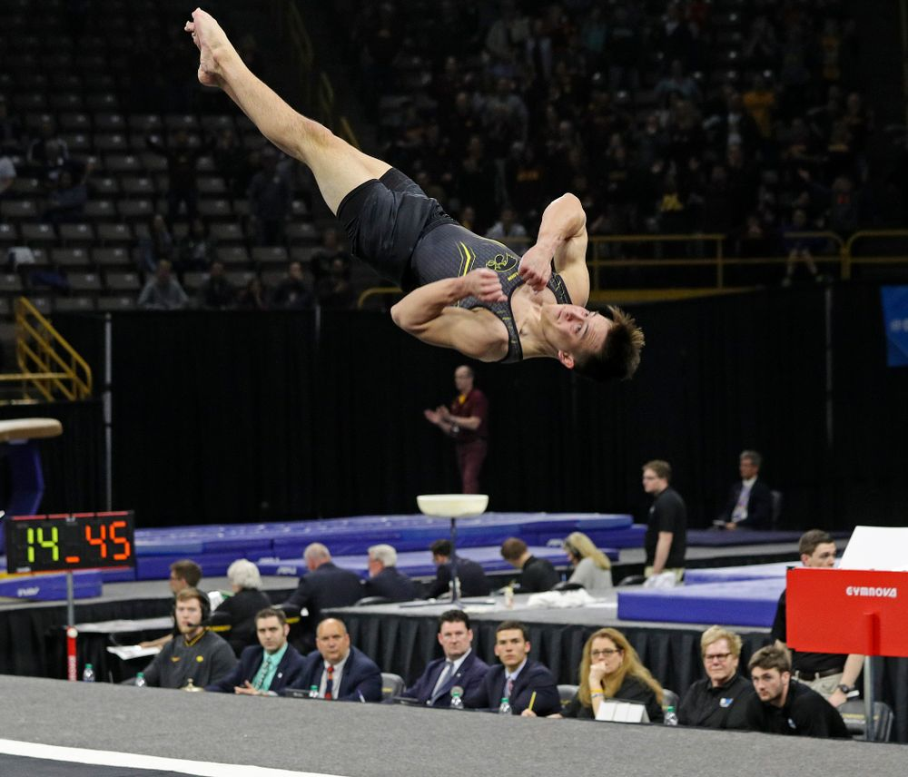 Iowa's Kulani Taylor competes in the floor during the first day of the Big Ten Men's Gymnastics Championships at Carver-Hawkeye Arena in Iowa City on Friday, Apr. 5, 2019. (Stephen Mally/hawkeyesports.com)