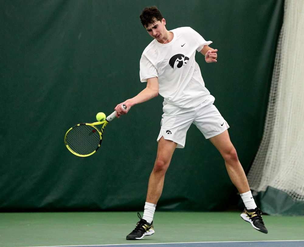 Iowa's Matt Clegg during his singles match at the Hawkeye Tennis and Recreation Complex in Iowa City on Sunday, February 16, 2020. (Stephen Mally/hawkeyesports.com)