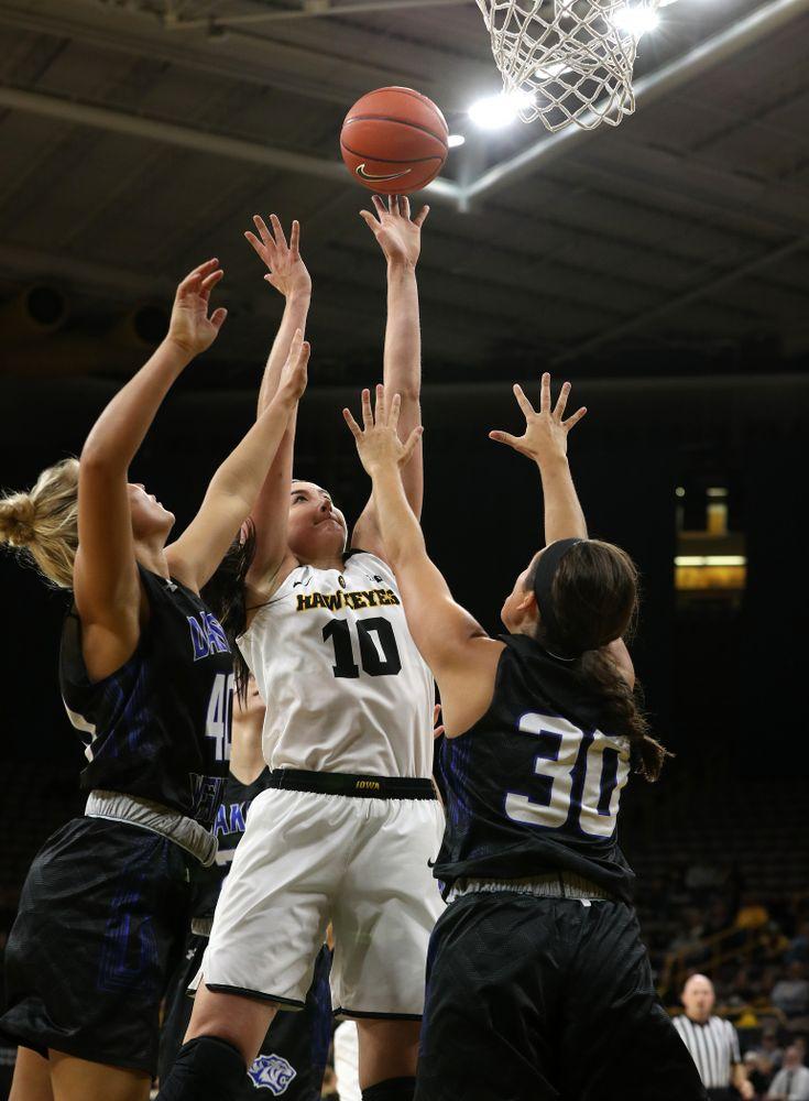 Iowa Hawkeyes forward Megan Gustafson (10) against Dakota Wesleyan University Tuesday, November 6, 2018 at Carver-Hawkeye Arena. (Brian Ray/hawkeyesports.com)