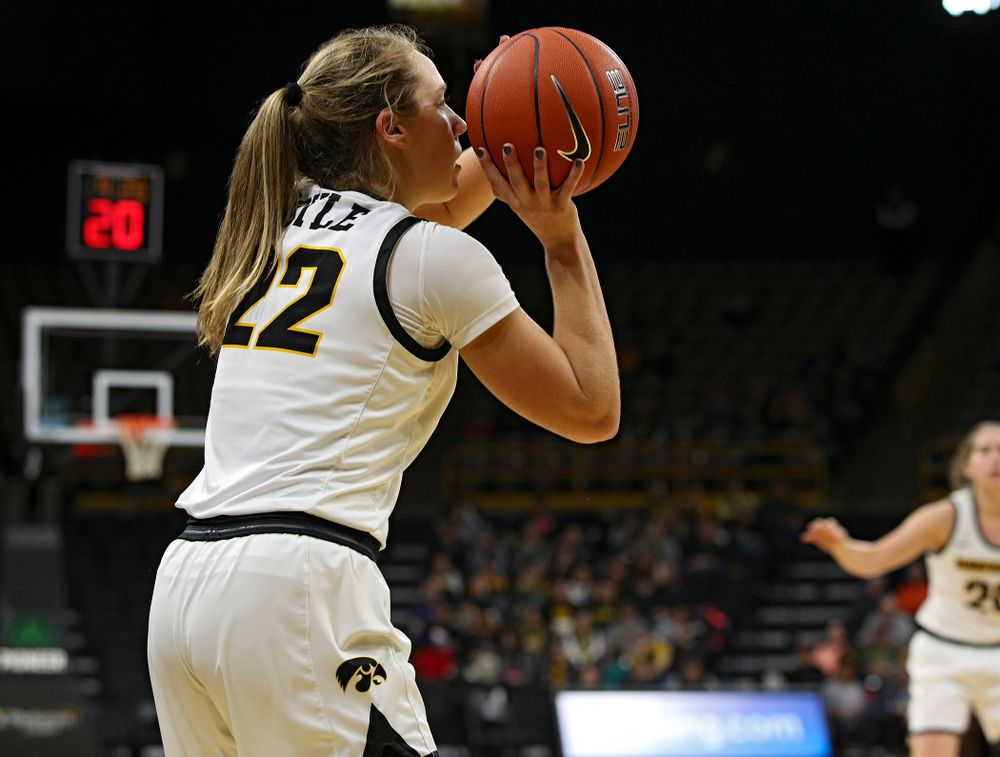 Iowa Hawkeyes guard Kathleen Doyle (22) makes a 3-pointer during the fourth quarter of their game at Carver-Hawkeye Arena in Iowa City on Tuesday, December 31, 2019. (Stephen Mally/hawkeyesports.com)