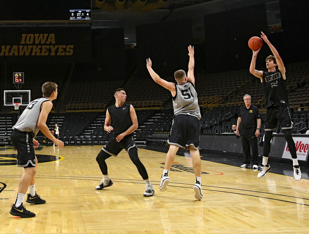 Iowa Hawkeyes forward Patrick McCaffery (22) makes a 3-pointer during practice at Carver-Hawkeye Arena in Iowa City on Wednesday, Oct 9, 2019. (Stephen Mally/hawkeyesports.com)