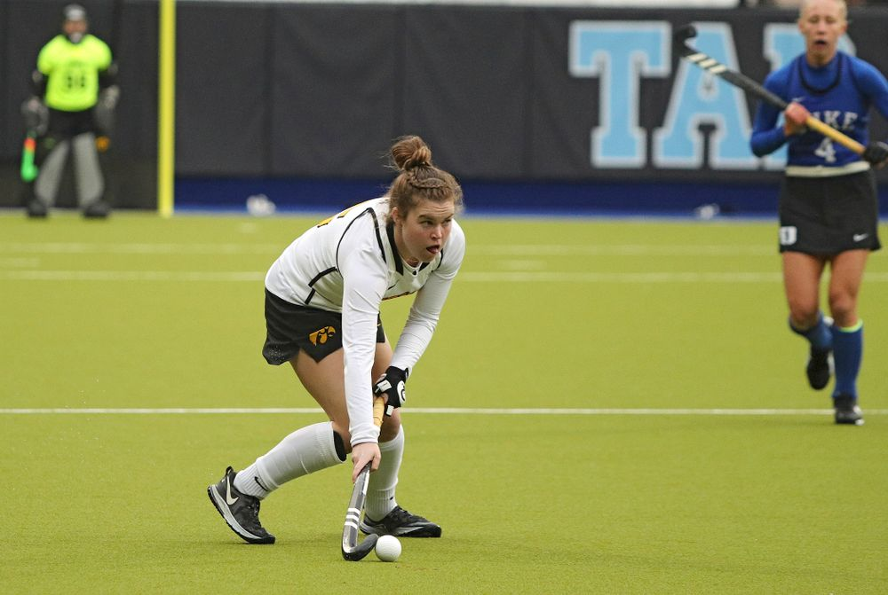 Iowa's Meghan Conroy (5) looks to pass during the fourth quarter of their NCAA Tournament First Round match against Duke at Karen Shelton Stadium in Chapel Hill, N.C. on Friday, Nov 15, 2019. (Stephen Mally/hawkeyesports.com)