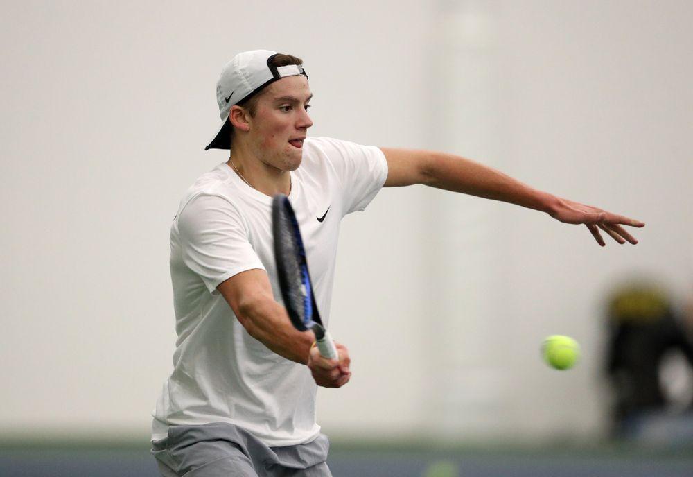 Iowa's Joe Tyler against Western Michigan Saturday, January 19, 2019 at the Hawkeye Tennis and Recreation Complex. (Brian Ray/hawkeyesports.com)