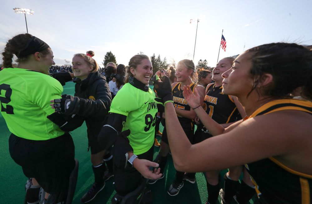 Iowa Hawkeyes goaltender Leslie Speight (96) celebrates their victory over  Penn State in the 2019 Big Ten Field Hockey Tournament Championship Game Sunday, November 10, 2019 in State College. (Brian Ray/hawkeyesports.com)