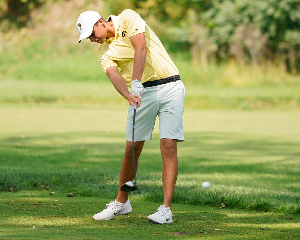 Iowa's Garrett Tighe tees off during the third day of the Golfweek Conference Challenge at the Cedar Rapids Country Club in Cedar Rapids on Tuesday, Sep 17, 2019. (Stephen Mally/hawkeyesports.com)