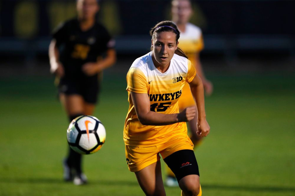 Iowa Hawkeyes Rose Ripslinger (15) against the Missouri Tigers Friday, August 17, 2018 at the Iowa Soccer Complex. (Brian Ray/hawkeyesports.com)