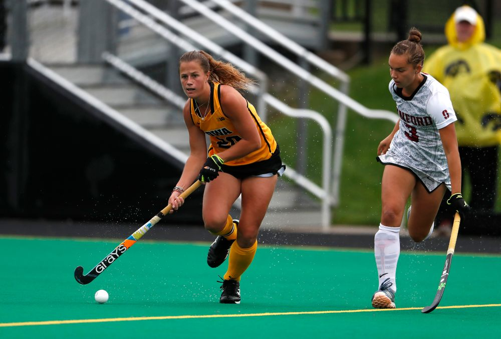 Iowa Hawkeyes Sophie Sunderland (20) against Stanford Sunday, October 7, 2018 at Grant Field. (Brian Ray/hawkeyesports.com)