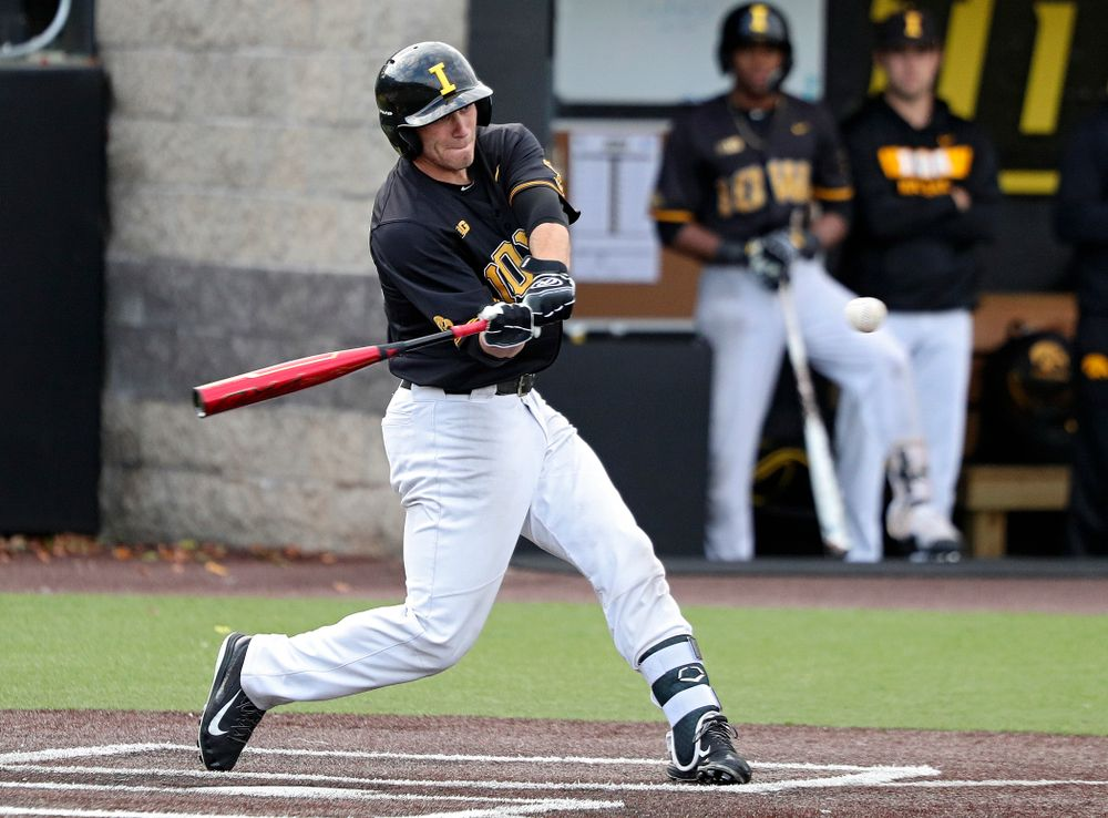 Iowa catcher Austin Martin (34) bats during the fifth inning of the first game of the Black and Gold Fall World Series at Duane Banks Field in Iowa City on Tuesday, Oct 15, 2019. (Stephen Mally/hawkeyesports.com)
