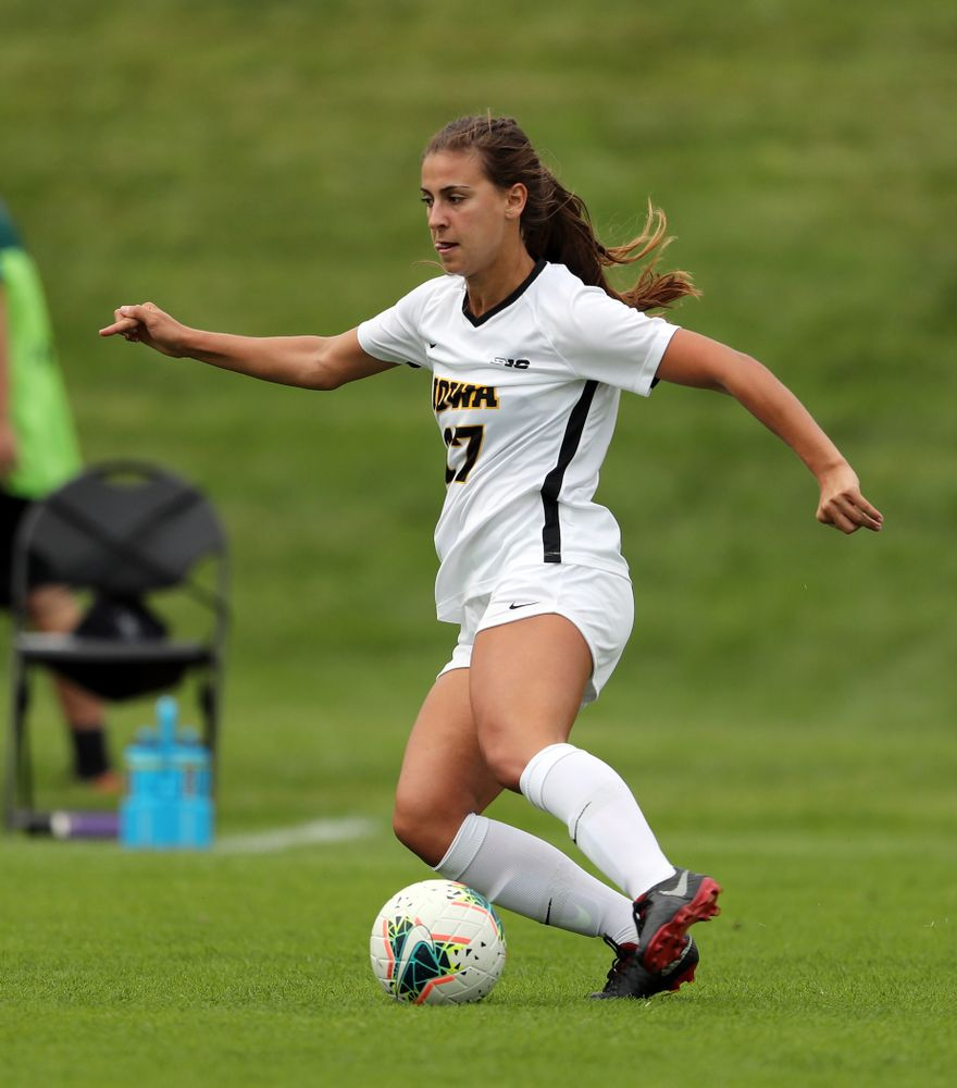 Iowa Hawkeyes defender Hannah Drkulec (17) during a 6-1 win over Northern Iowa Sunday, August 25, 2019 at the Iowa Soccer Complex. (Brian Ray/hawkeyesports.com)