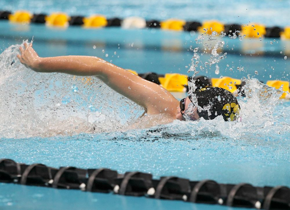 Iowa's Alleyna Thomas swims her section of the women's 200-yard freestyle relay event during their meet against Michigan State at the Campus Recreation and Wellness Center in Iowa City on Thursday, Oct 3, 2019. (Stephen Mally/hawkeyesports.com)