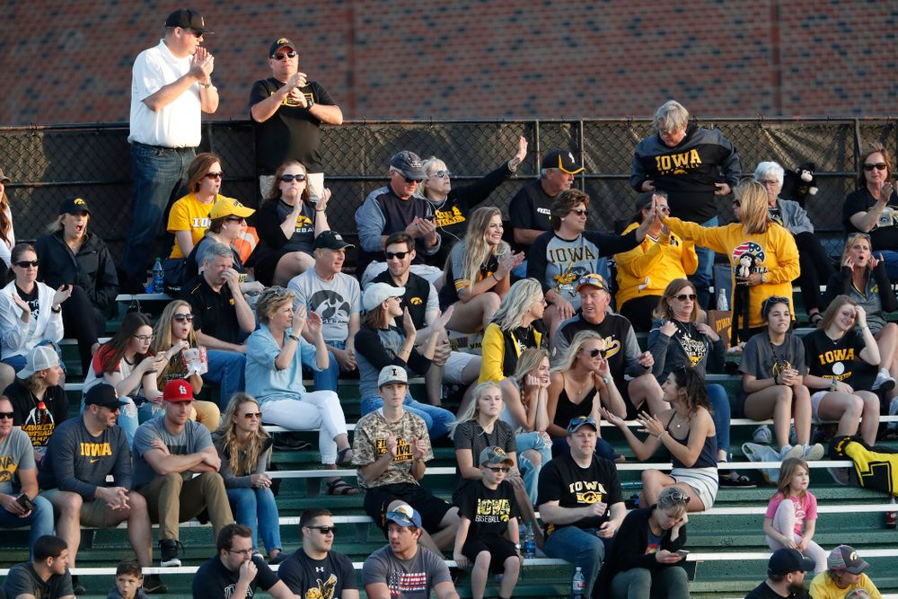 Fans for the Iowa Hawkeyes during the Iowa Hawkeyes game against Oklahoma State Friday, May 4, 2018 at Duane Banks Field. (Brian Ray/hawkeyesports.com)