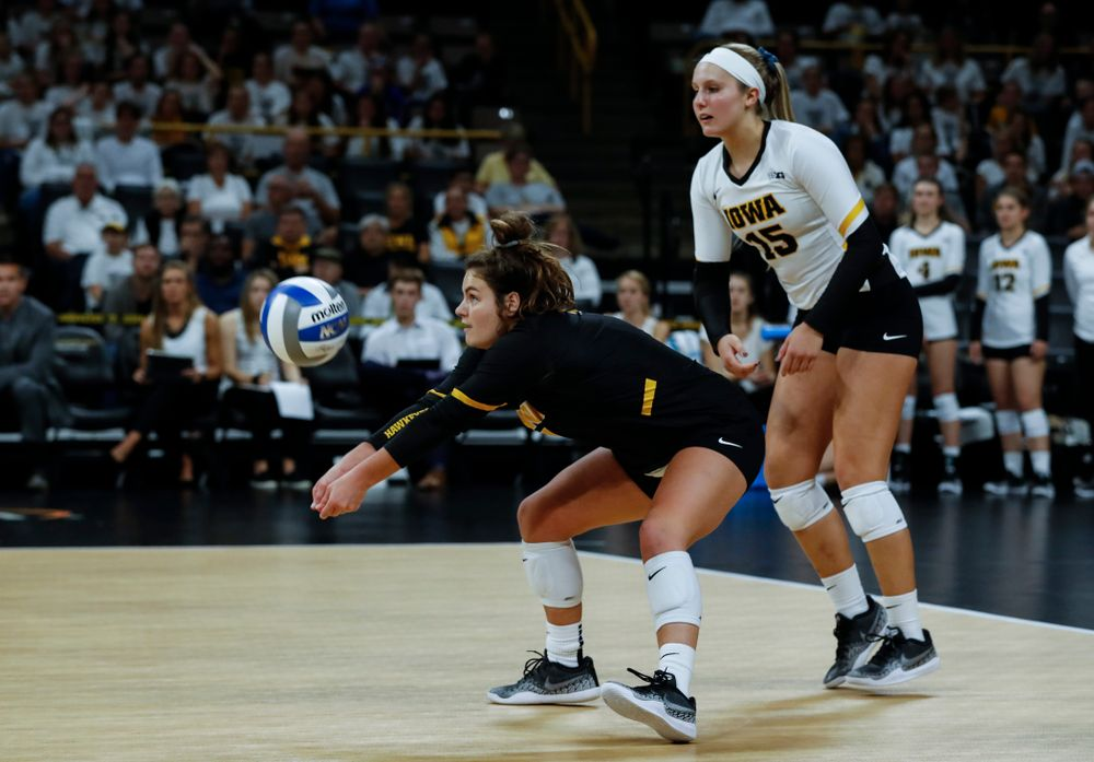Iowa Hawkeyes defensive specialist Molly Kelly (1) against the Michigan State Spartans Friday, September 21, 2018 at Carver-Hawkeye Arena. (Brian Ray/hawkeyesports.com)