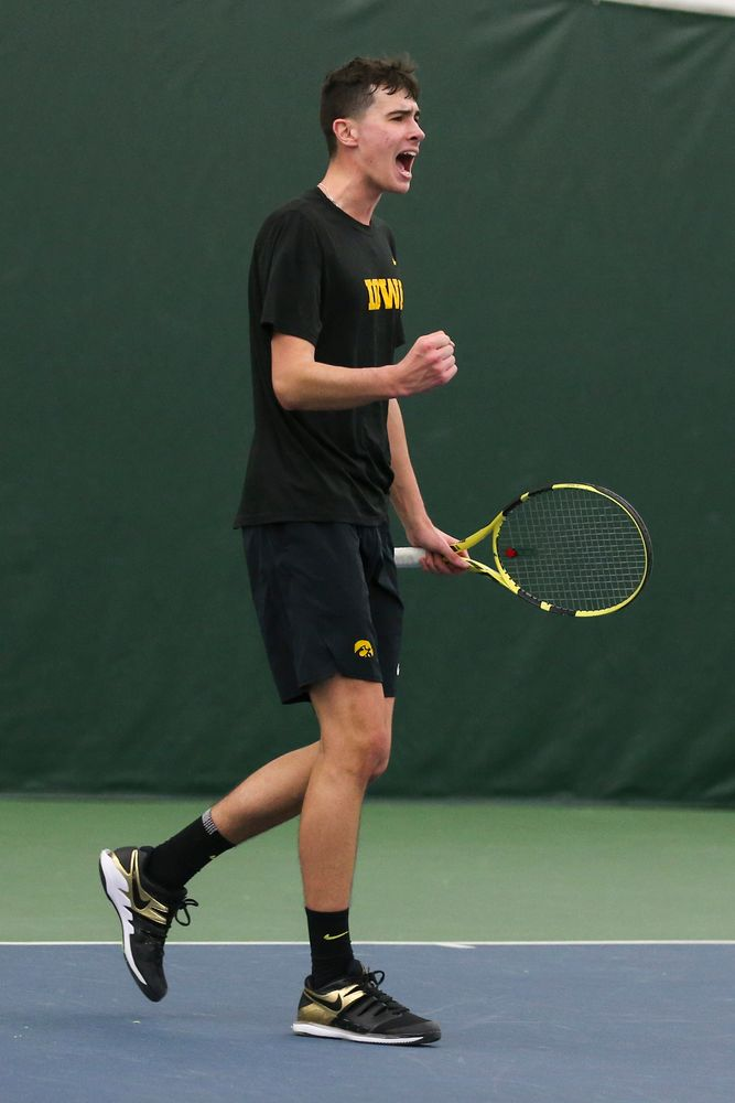 Iowa's Matt Clegg celebrates a point during the Iowa men's tennis meet vs VCU  on Saturday, February 29, 2020 at the Hawkeye Tennis and Recreation Complex. (Lily Smith/hawkeyesports.com)