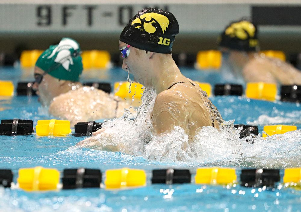 Iowa's Zoe Mekus swims the breaststroke section of the 100-yard individual medley event during their meet against Michigan State at the Campus Recreation and Wellness Center in Iowa City on Thursday, Oct 3, 2019. (Stephen Mally/hawkeyesports.com)