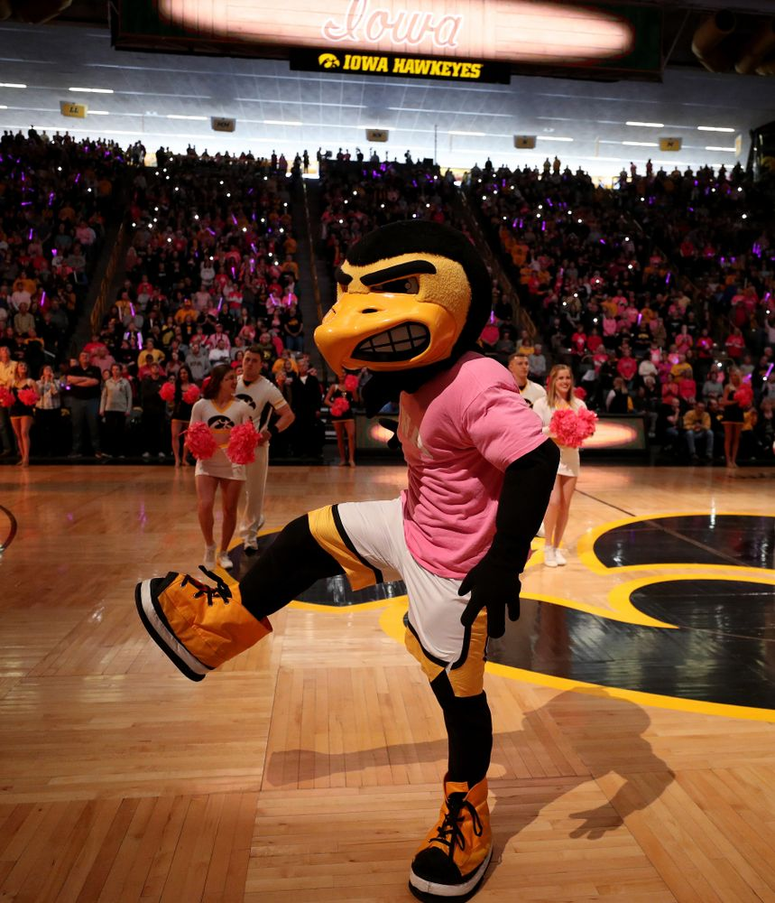 Herky The Hawk against the Wisconsin Badgers Sunday, February 16, 2020 at Carver-Hawkeye Arena. (Brian Ray/hawkeyesports.com)