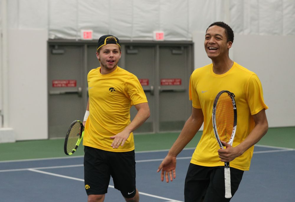 Will Davies and Oliver Okonkwo against the Butler Bulldogs Sunday, January 27, 2019 at the Hawkeye Tennis and Recreation Complex. (Brian Ray/hawkeyesports.com)